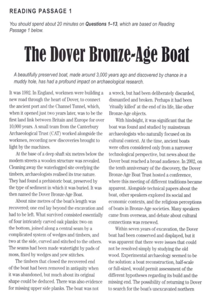 ielts reading the dover bronze age boat